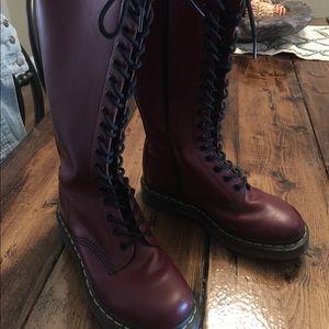 Dr. Martens 20 eye Burgundy Tall Boots